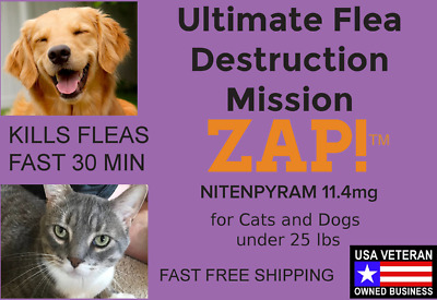ZAP! Instant Fast Flea Killer 50 Capsules 11.4mg Dogs Cats under 25lb Free Ship