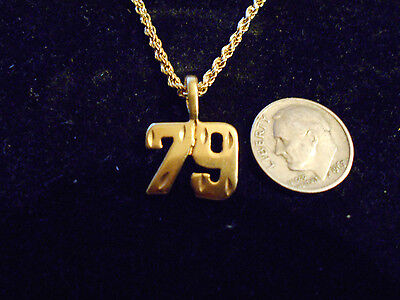 bling gold plated sports team number 79 pendant charm hip hop necklace jewelry