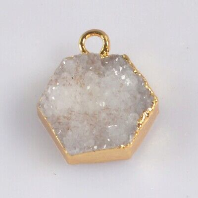 12mm Hexagon Natural Agate Druzy Geode Charm One Bail Gold Plated H130676
