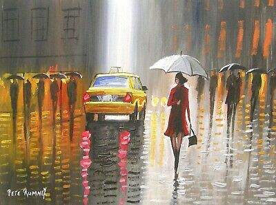 Pete Rumney Art Original Canvas Painting New York Umbrella Contemporary Artwork