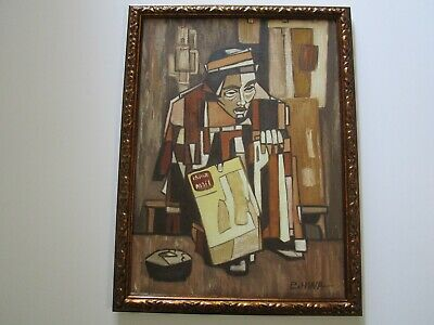 Vintage Chinese Modernist Painting Signed Hwa Mid Century Modern Abstract Cubism