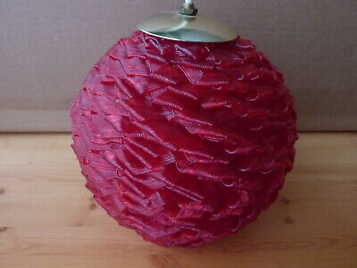 """Red Spaghetti ribbon 9"""" round Lucite plastic swag Lamp Ball 60's - Nice glow!"""