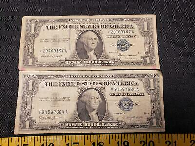 Pair Series 1957 1957B Silver Certificate United States One Dollar Bill