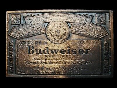 MA31157 VINTAGE 1970s GENUINE **BUDWEISER** LAGER BEER BELT BUCKLE