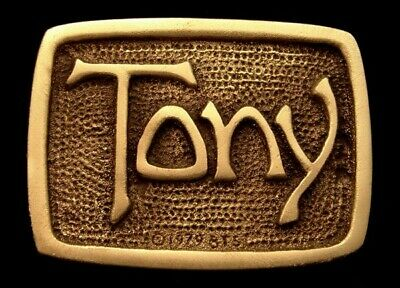 Oa28147 *Nos* Vintage 1978 Bts  ***Tony*** Small Solid Brass Name Buckle