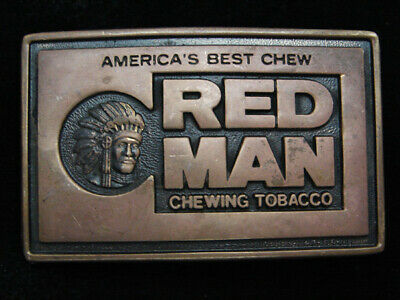 QC11104 VINTAGE 1970s **RED MAN CHEWING TOBACCO** SOLID BRASS BTS BELT BUCKLE