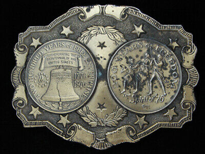 PC03146 VINTAGE 1970s **200 YEARS OF FREEDOM** BICENTENNIAL BELT BUCKLE
