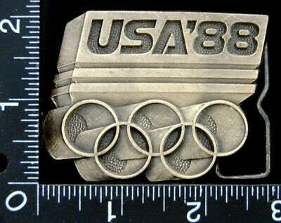 Mg10166 Great Vintage **Usa'88*** Olympic Logo Brasstone Belt Buckle