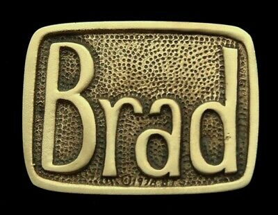 Oa28105 *Nos* Vintage 1978 Bts  ***Brad*** Small Solid Brass Name Buckle