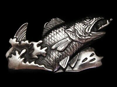Mg21154 *Nos* Vintage 1979 **Trout Jumping For Lure** Pewter Fishing Belt Buckle