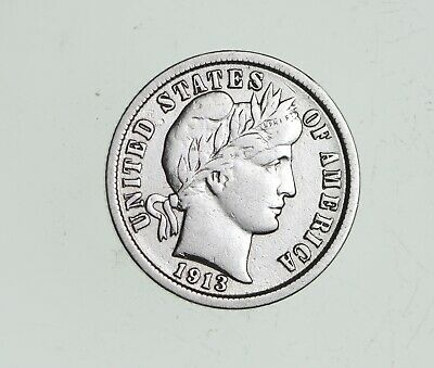 Higher Grade - 1911 Barber Liberty US Silver Dime - Great Detail in LIBERTY *583
