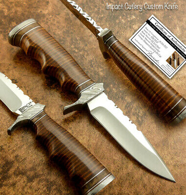 Impact Cutlery  Rare Custom D2 Skinning Knife Stacked Leather Handle