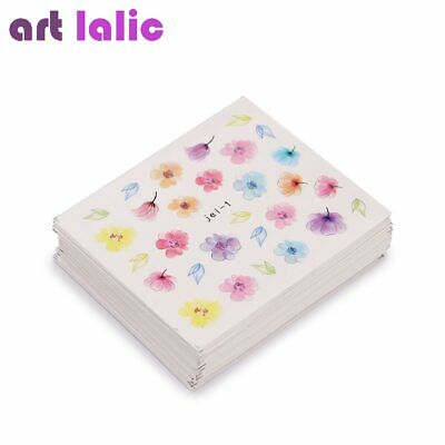 48 Sheets Mixed Flower Feather Water Transfer Nail Art Sticker Watermark Decals