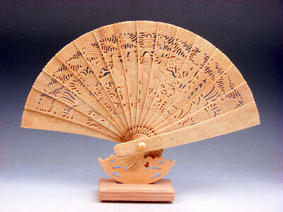 """12"""" Bone Trees Peaches Flowers Immortals Dragon Phoenix Hand Carved Fan & Stand"""