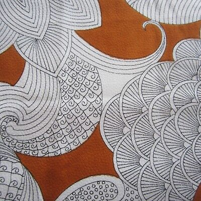50cm x 93cm Tan Black White Psychedelic Textured Vintage cotton fabric 1960s