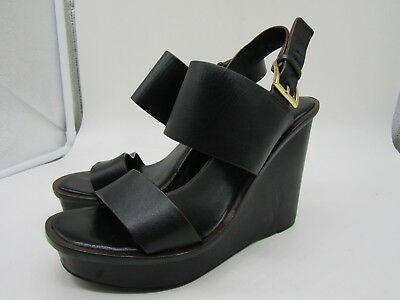 4785a7c227c5 Tory Burch Lexington Women s Black Leather Wedge Sandals Size 7 Made in  Brazil