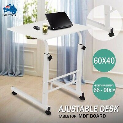 Portable Height Adjustable Mobile Wooden Laptop Study Desk Stand Table Wheels AU