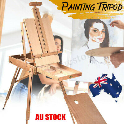 AU Artist Painter Tripod Portable Folding Durable French Easel Wooden Sketch Box