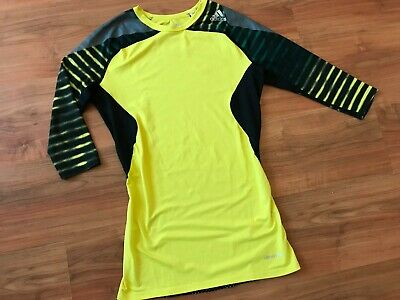 4e22e4003 Mens YELLOW ADIDAS TECHFIT COMPRESSION Base Layer GYM TRAINING T-SHIRT (M)