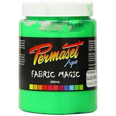 Permaset Aqua Super 300ml Fabric Printing Ink - Glow Green - Cover