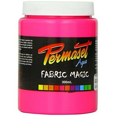 Permaset Aqua Super 300ml Fabric Printing Ink - Glow Pink - Cover