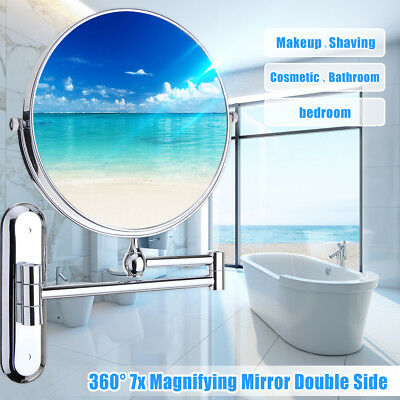 360° Makeup Vanity Cosmetic Mirror Wall Mounted 2 Side Extend Bath Shave