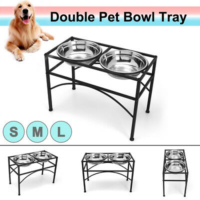 2 Bowls +Dual Elevated Raised Pet Dog Puppy Feeder Stainless Food Water Stand