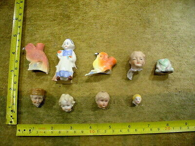 9 x excavated vintage painted damaged doll parts Germany Hertwig age 1890 B 34