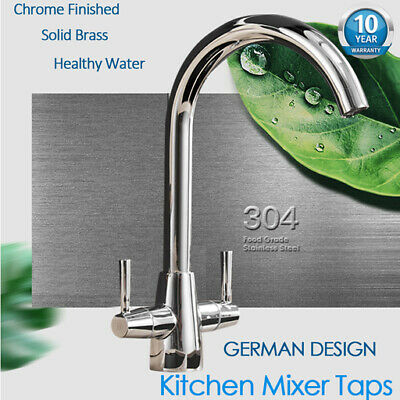Chrome Expose Kitchen Tap Swirl Monobloc Mixer Deck Swan Neck Waterfall Hot&Cold