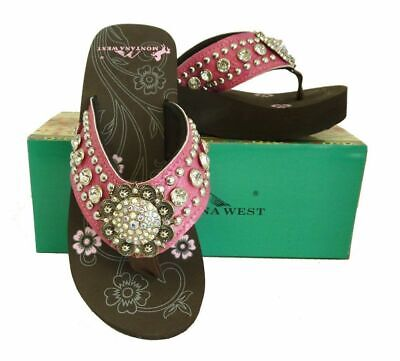 edc5c0cb8 Montana West Women Flip Flops Wedged Bling Sandals Large Floral Concho Pink