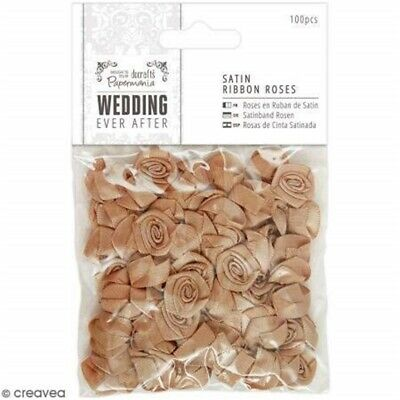Papermania 100-piece Wedding Satin Ribbon Roses, Antique Gold