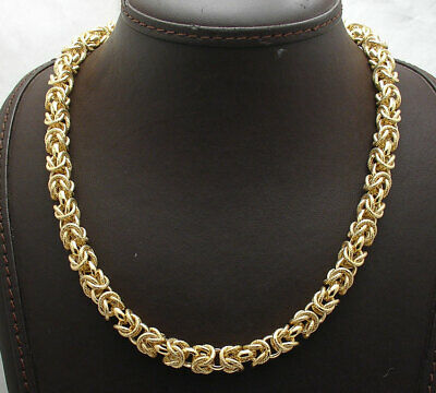 Technibond Byzantine Chain Necklace Magnetic Lock 14K Yellow Gold Clad Silver