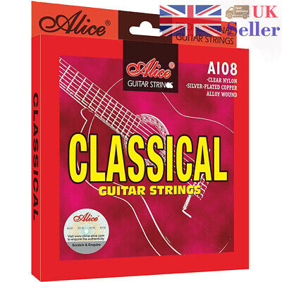 5x Classical Guitar Strings Set 6-String Classic Guitar Clear Nylon Alice A108