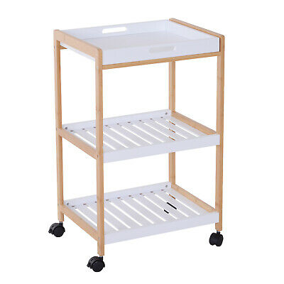 Mobile Serving Trolley Kitchen Cart Pine Wood Rolling Wheels White
