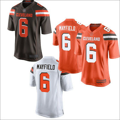 6593fe20 New Men's Cleveland Browns 6# Baker Mayfield Jersey Brown/White/Orange M-