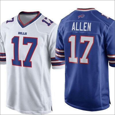 38a947f0bfc NEW BUFFALO BILLS NO.17 Josh Allen Mens Jersey White/Blue Size M-3XL ...