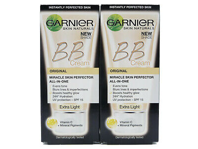 2 x Garnier Original BB Cream Miracle Skin Perfector 50ml - Extra Light - New!