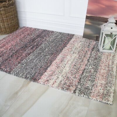 Modern Cosy Blush Pink Striped Shaggy Rugs Coral Distressed Non Shed Shag Rug UK