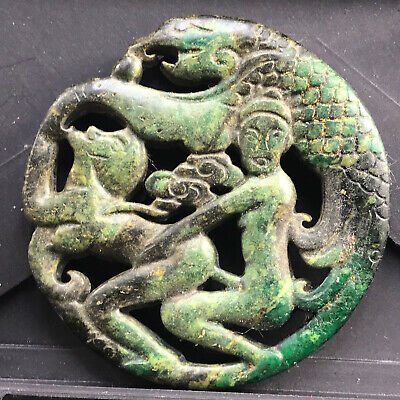 Chinese old natural jade hand-carved statue pendant      150