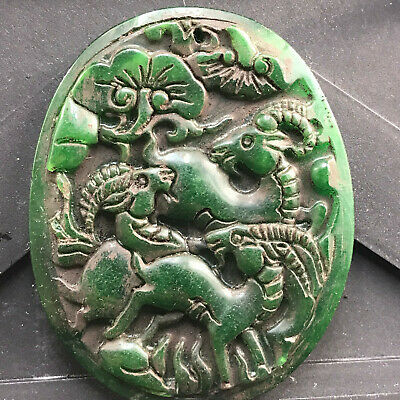 Chinese old natural jade hand-carved statue pendant      152