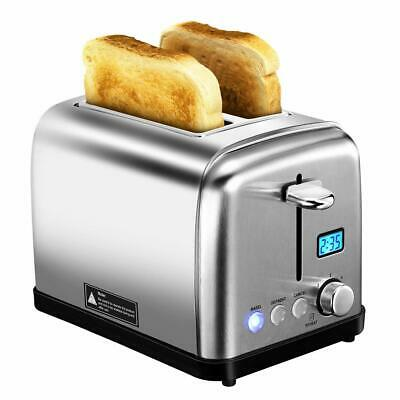 HoLife 2 Slice Toaster Stainless Steel with 6 Bread Shade Settings Bagel/Defrost