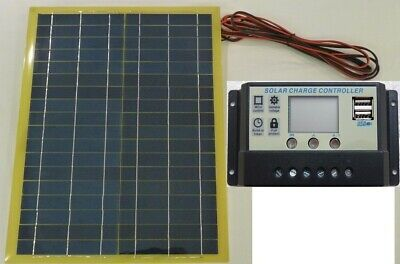 Very Light 20w Solar Panel c/w 4m cable + 10A 12v LCD 2 x USB Battery Charger