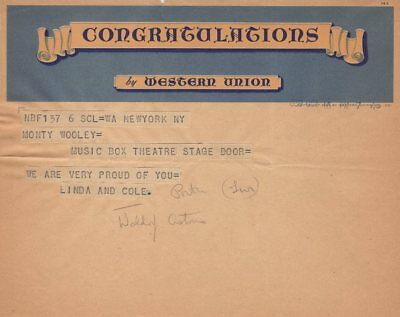 *cole Porter 1939 Opening Night Telegram Monty Woolley Man Who Came To Dinner*