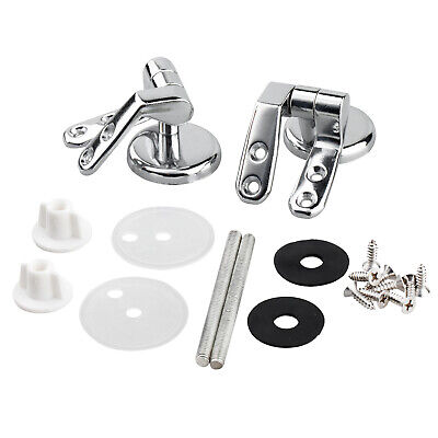 Pair of Chrome Toilet Seat Hinges For Wood Seats Inc Fittings - By TRIXES