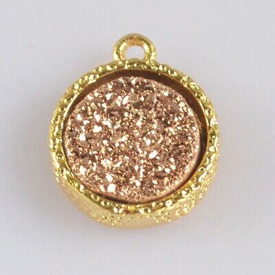 10mm Natural Agate Titanium Druzy Bezel Charm One Bail H130680