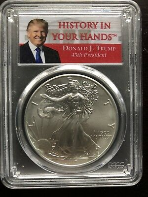 2017 American Silver Eagle 1 oz $1 - Donald Trump - First Strike - PCGS MS69