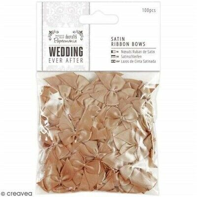 Papermania 100-piece Wedding Satin Ribbon Bows, Antique Gold