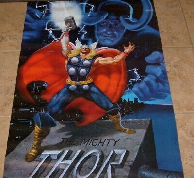 ULTRA RARE THOR & LOKI AVENGERS MARVEL COMICS VINTAGE 1988 POSTER By RON FRENZ