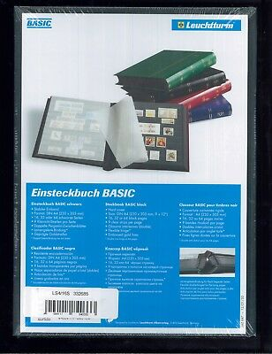 New Lighthouse Hardcover 32 Page Basic Stamp Collector Album Stockbook - Black