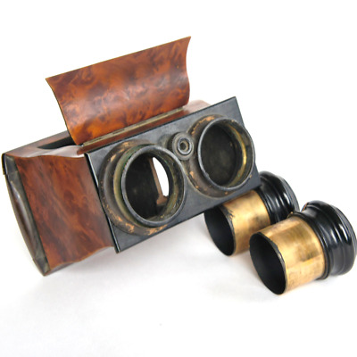 Antique Victorian Burl Mahogany Stereoscope Stereo Card Viewer Brewster Styl a/f